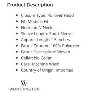 Worthington Tops - NWT Worthington S/S V-Neck Side Tie Blouse